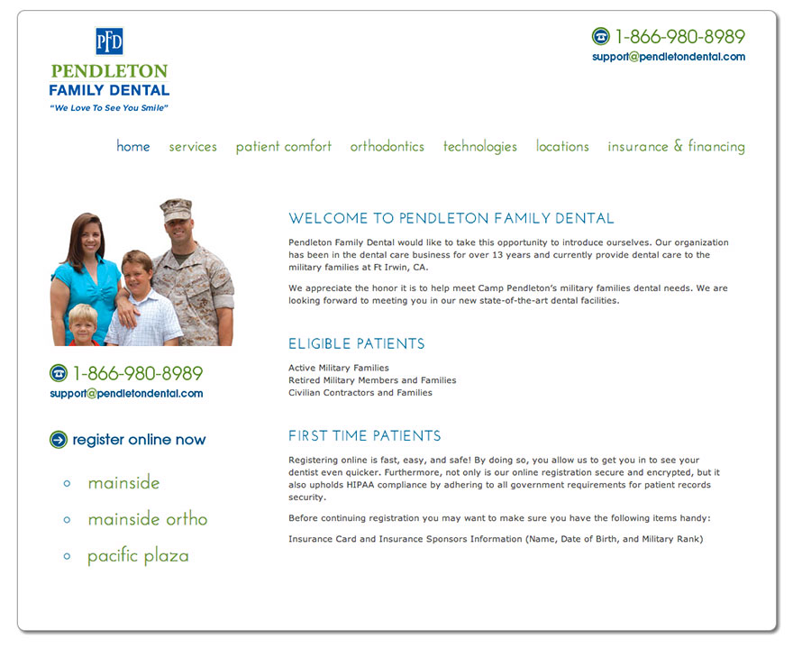 Pendleton Family Dental Website
