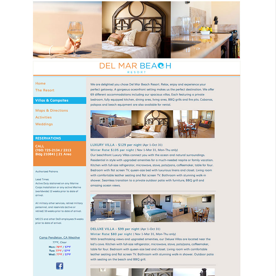 Del Mar Beach Resort Website