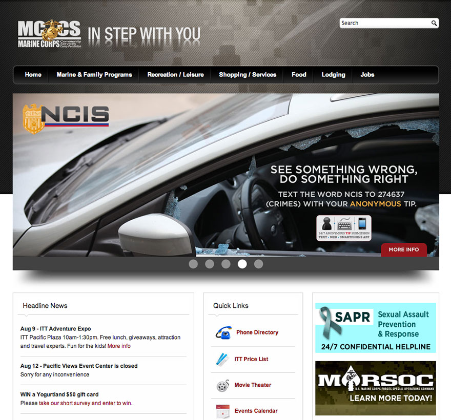 Screenshot of mccsCP.com