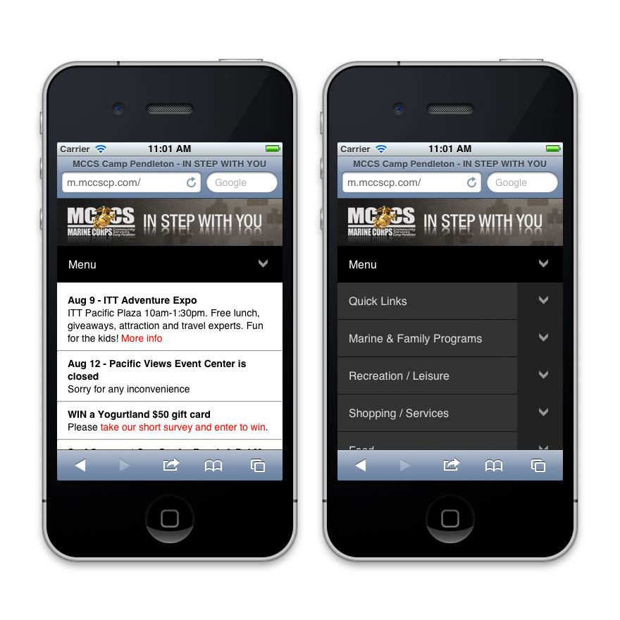 MCCS Mobile Website