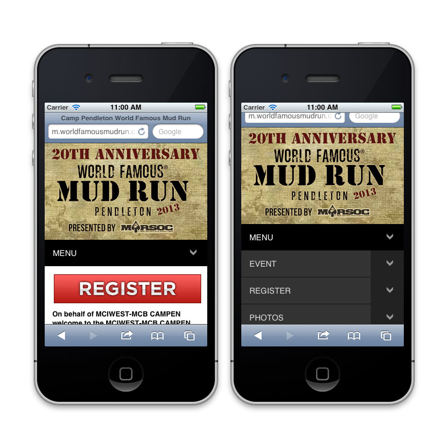 Mud Run Mobile Website