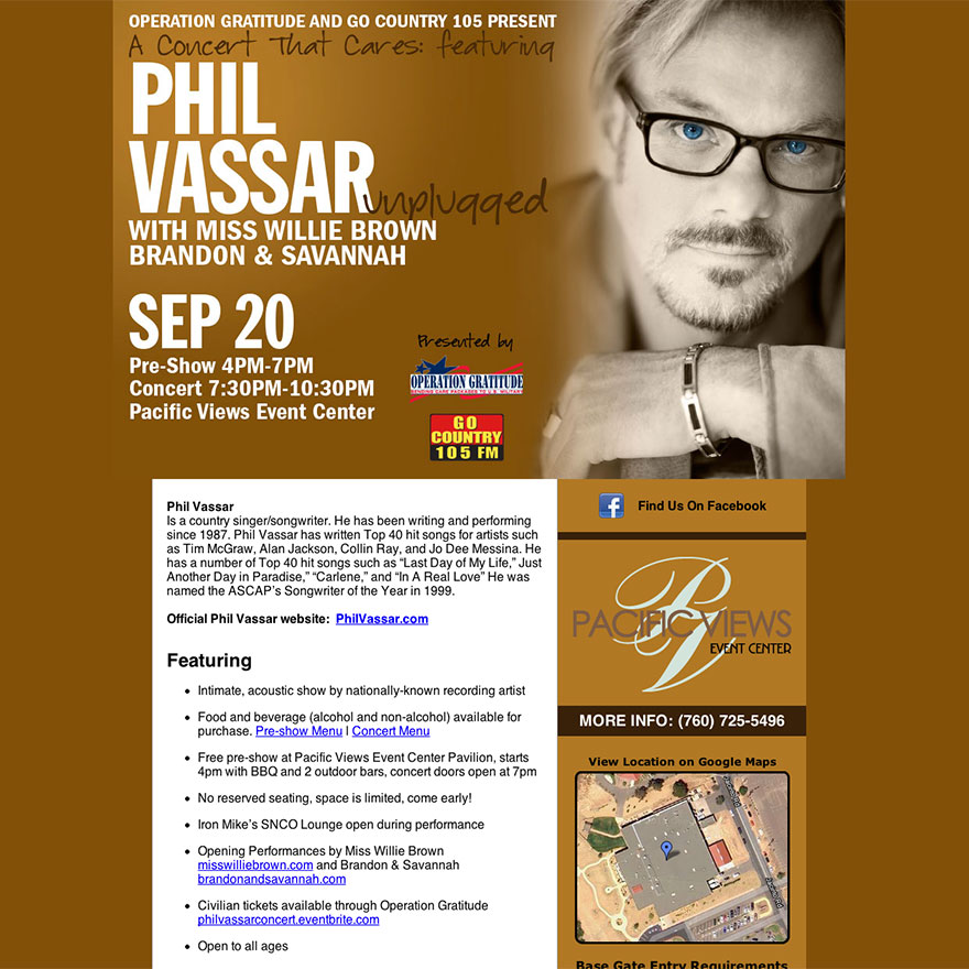 Phil Vassar Concert Website